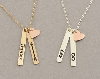 Skinny MINI Vertical Bar Necklace with Heart, Name Necklace / Personalized Gold Bar Necklace, Gold Bar, Vertical Bar