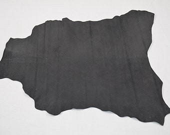 Black velvet lambskin leather printed with shiny dots