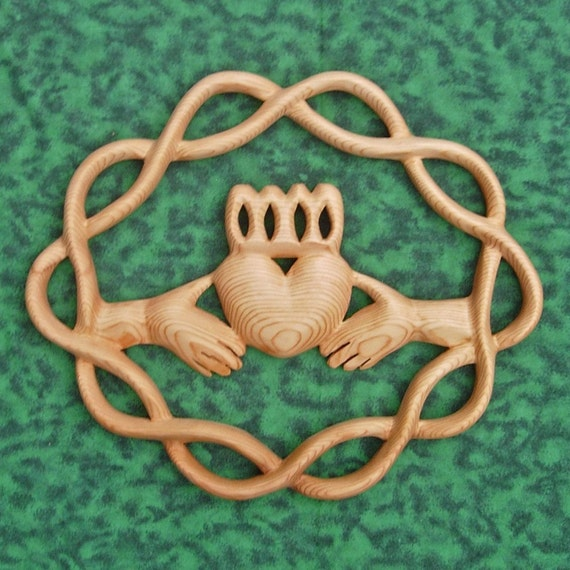 Claddagh Wood Carving Traditional Irish Symbol Celtic Knot Of
