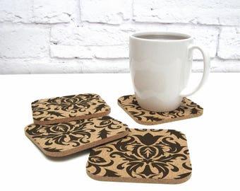 Damask Pattern Cork Coaster Set Hostess Gift Cubicle Dorm Room Decor