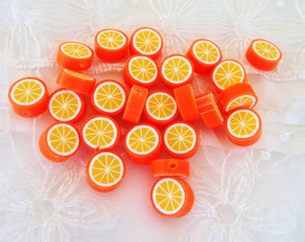 Fimo Polymer Clay Round Flat Beads Colorful Orange Fruit 10mm approx. - 8 pieces