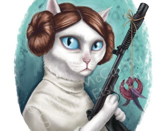 "Princess Leia Cat - 8 x 10"" print of a white cat holding a blaster with a cat toy"