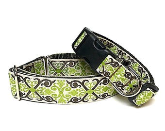 "1.5"" CAMELOT olive green martingale dog collar or 1' tag collar, Safety Collar, Greyhound Collar, Adjustable, Training Collar"