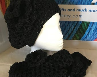 Black hat with matching fingerless gloves