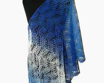 Natural wool shawl, lace shawl, Knit stole, knitted wrap, Knitted scarf, long knit scarf, women's knit scarf, lace shawl, warm scarf, stole