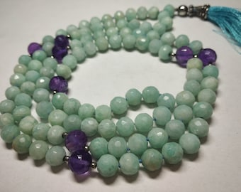 Natural Amazonite 108 Faceted Round Balls Strand  6.5mm Hand Knotted Necklace  Meditation Prayer Yoga Mala