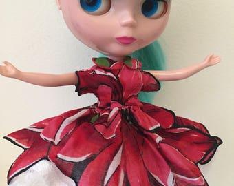 Pétale de fleur rouge mouchoir ancien robe pour Blythe