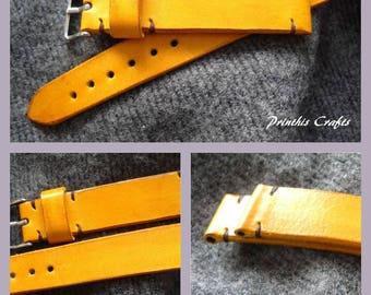 22mm montre à la main bandoulière en cuir véritable-jaune en cuir gris points 22/20
