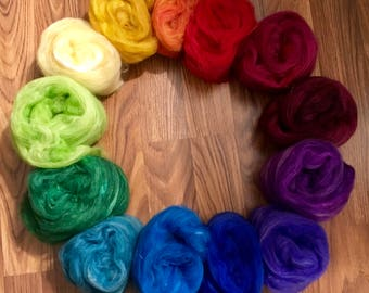 """LUXURIOUS Spinning fiber BATTS 1 oz ea. """"Somewhere Over the Rainbow"""" is your pot of the BEST spinning fibers available.  Limited edition"""