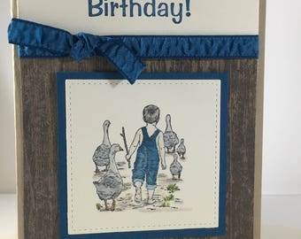 Happy Birthday, Farm, Boy, Geese, Jeans, Overalls, stampin up, card