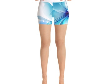 Blue Blossom Yoga Shorts