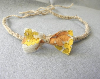 SALE Baby headband halo crocheted floral fabric bow brown grey yellow taupe photography photo prop newborn toddler girl flower rustic
