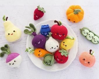 CROCHET PATTERN - Farmer's Market - amigurumi toy crochet food play food crochet vegetables fruit market bag kids PDF digital pattern