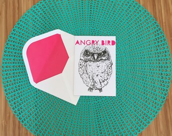 Cheeky - Animal Greeting Card - Angry Bird - Owl - Funny - Alternative Cards - Colourful Language