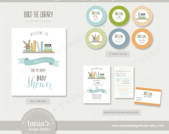 Build the Library Printable Baby Shower Party Package by tania's design studio