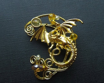 Dragon Ear Cuff Wire Jewelry No Piercing Ear Cuffs Gold dragon Wire Jewelry Wire wrapped ear cuffs Jewelry