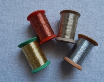 4 spools of Metallic Thread, Embroidery Thread, Hand and Machine Embroidery Thread, Metallic Embroidery Thread