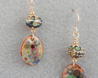 Earrings, with Artisan Lampwork and Enamel, Hello Gustav