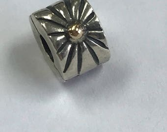 RETIRED Gorgeous Authentic Pandora 14KT Yellow Gold Sterling Silver Sunburst Clip Charm Bead Item #790216