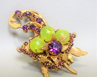 Signed Miriam Haskell brooch - Rare - Collectable - Vintage - 1950s - gift for woman