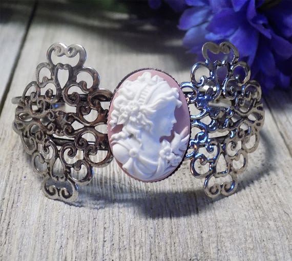 Vintage style Victorian antique silver tone filigree pink cameo bracelet