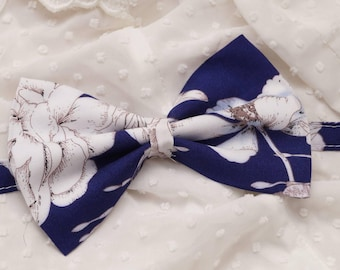Mens bow tie, check bow tie, royal blue  floral print
