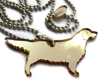 Golden Retriever Necklace,Plexiglass Jewelry,Lasercut Acrylic