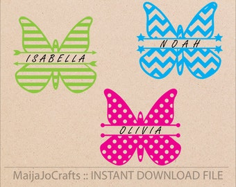 Split Butterfly svg monogram frame Patterned Cricut cutting file DXF,  Cricut designs PNG instant download silhouette cameo cut Vector file