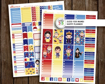 HP Fairest Of Them All Weekly Kit   PRINTABLE pdf jpg   Disney™ Snow White Inspired Planner Stickers   Princess fits Happy Planner