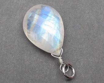 Rainbow Moonstone Pendant,  Sterling Silver Wire Wrapped Pendant, Rainbow Moonstone Charm, Moonstone Jewelry, Fertility Charm, Stone 78