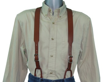 Brown Leather Suspenders with Button Connectors