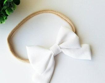 White Sailor Bow / Katelyn Bow / Hair Bow / Headband / Baby Headband / Choose Clip or Nylon Headband / White Hairbow