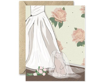 Wedding Dress Cat- Greetiing card