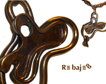 Early Vintage Francisco Rebajes Copper Amoeba Pendant. Original Signed Chain. Circa 1950s / NYC. This One is Very Hard to Find.