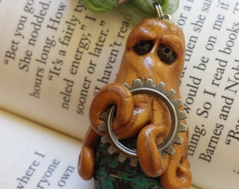 Cheeky Steampunk Octopus Pendant Necklace with Gear, Onyx Eyes, Hugging a Gorgeous Paper-Wrapped Bead - Hand Sculpted