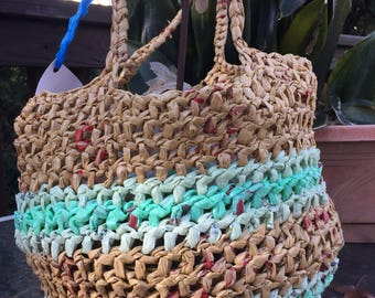 Upcycled tote handcrocheted from m plastic bags