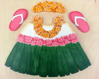"Hawaiian Grass Skirt with Leis Outfit - Wooden ""Seasonal Bear n Friends"" Outfit"