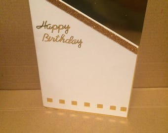 Handmade Birthday Card | White, Gold | Glitter | Customise Me
