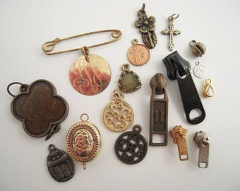 Vintage Junk Drawer Items Destash Jewelry Charms Zippers Brooch Pendant Repurpose Assemblage Collage Found Altered Art Crafting