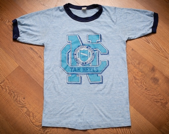 North Carolina Tar Heels Ringer T-shirt, XS, Rayon Tri-Blend, Vintage 1970s-1980s, University Apparel, College Team Graphic Tee, Sportswear