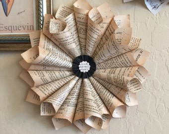 """Rustic French Book Wreath, 1930s Vintage French Books, """"LeBourgeous Gentilhomme"""" & """"LeChevalier de Maison-Rouge"""", Paper Cone Wreath, Gift"""