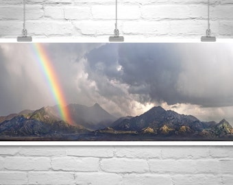Rainbow Art, Arizona Mountain Art, Rainbow Print, Tucson Photography, Panoramic Art, Wide Art, Arizona Landscape, Rainbow Picture Gift