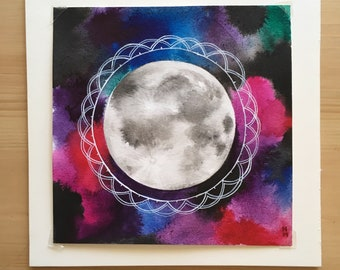 Full Moon Original Painting Watercolor