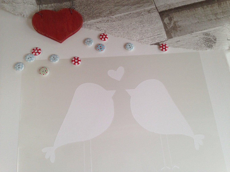 Amor aves plantilla boda arte silueta aerógrafo de guardería
