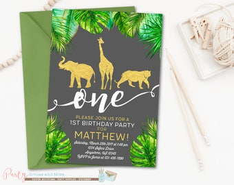 Jungle Birthday Invitation, Safari Birthday Invitation, Party Animals Birthday Invitation, Boy Birthday Invitation, Wild One Invitation