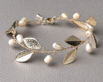 Freshwater Pearl Bridal Bracelet, Gold Wedding Bracelet, Gold Bridal Bracelet, Bridal Jewelry, Wedding Jewelry, Pearl Wedding Jewelry - 7045