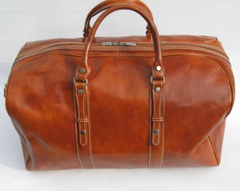 Tan Leather Weekender Cabin Travel Bag By Enzo Olletti