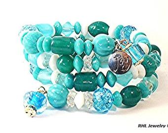 Teal Memory Wire Bracelet, Aqua Beaded Bracelet, Turquoise Summer Bracelet,