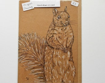 Cute happy Squirrel ORIGINAL drawing on recycled paper card Greenwich London