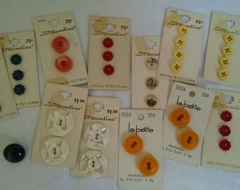 Vintage Streamline Buttons On Original Cards